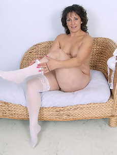 milf heels Mature white stockings high